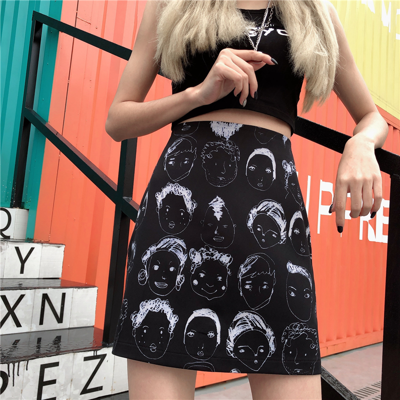 Graffiti Face Retro Skirt Comic Print High Waist Wild A Line Skirt Fashion Women Bodycon Mini Skirts