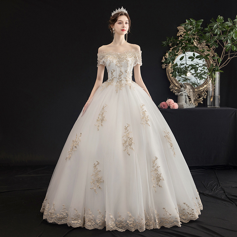 Marriage Yarn Full Dress 2019 Bride One The Shoulder Is Thin And Neat Land Luxury Mori Exceed Immortal Dream