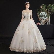 Short blanco marfil Cap vestidos de boda de manga 2019 para novia de novia Vintage vestido de talla grande Maxi cliente hizo