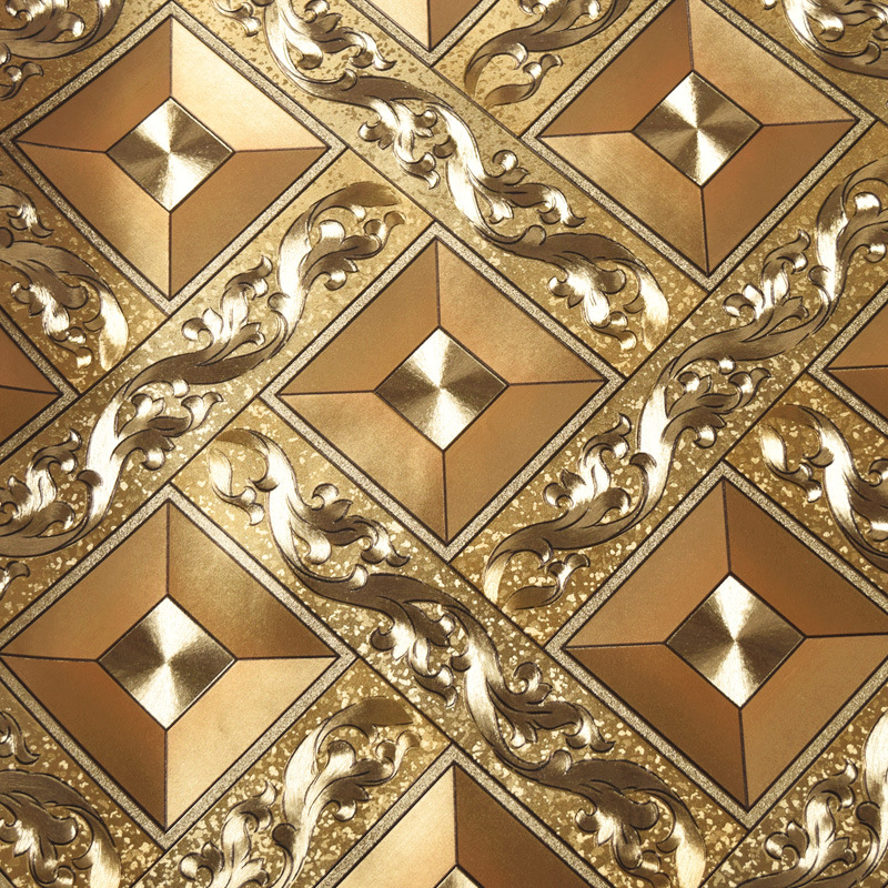 Thick Rhombus Grid KTV Gold Foil Wallpaper Bar Wall Entertainment Clubhouse Ceiling Square Reflective Wallpaper