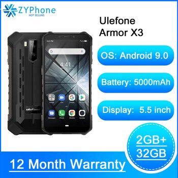 Перейти на Алиэкспресс и купить Прочный смартфон Android 9,0 IP68 Android 5,5 дюйм2 ГБ 32 ГБ 5000 мАч 3G прочный мобильный телефон Android Ulefone Armor X3