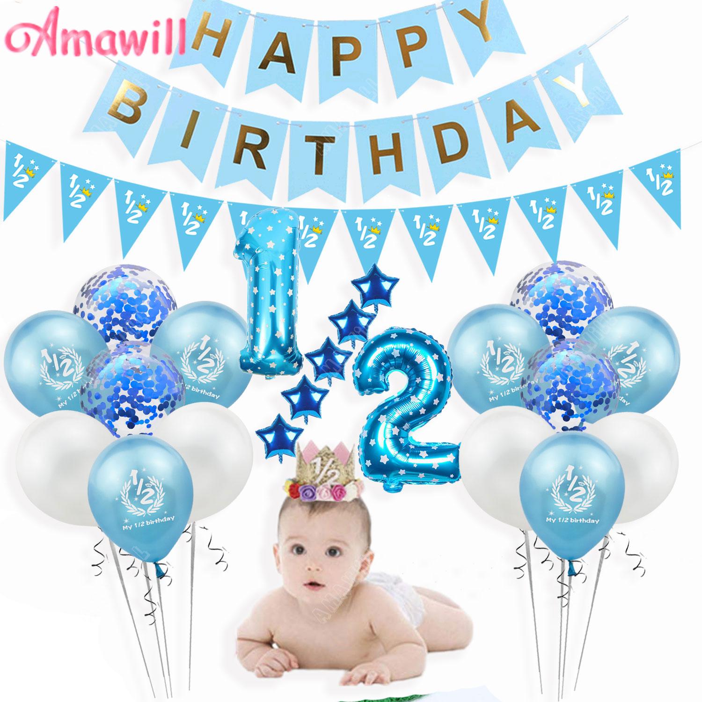 Amawill My 1/2 шары для дня рождения баннерная шляпа для маленьких мальчиков и девочек, украшения для вечеринки на половину дня рождения, Детские принадлежности для вечеринок на шесть месяцев