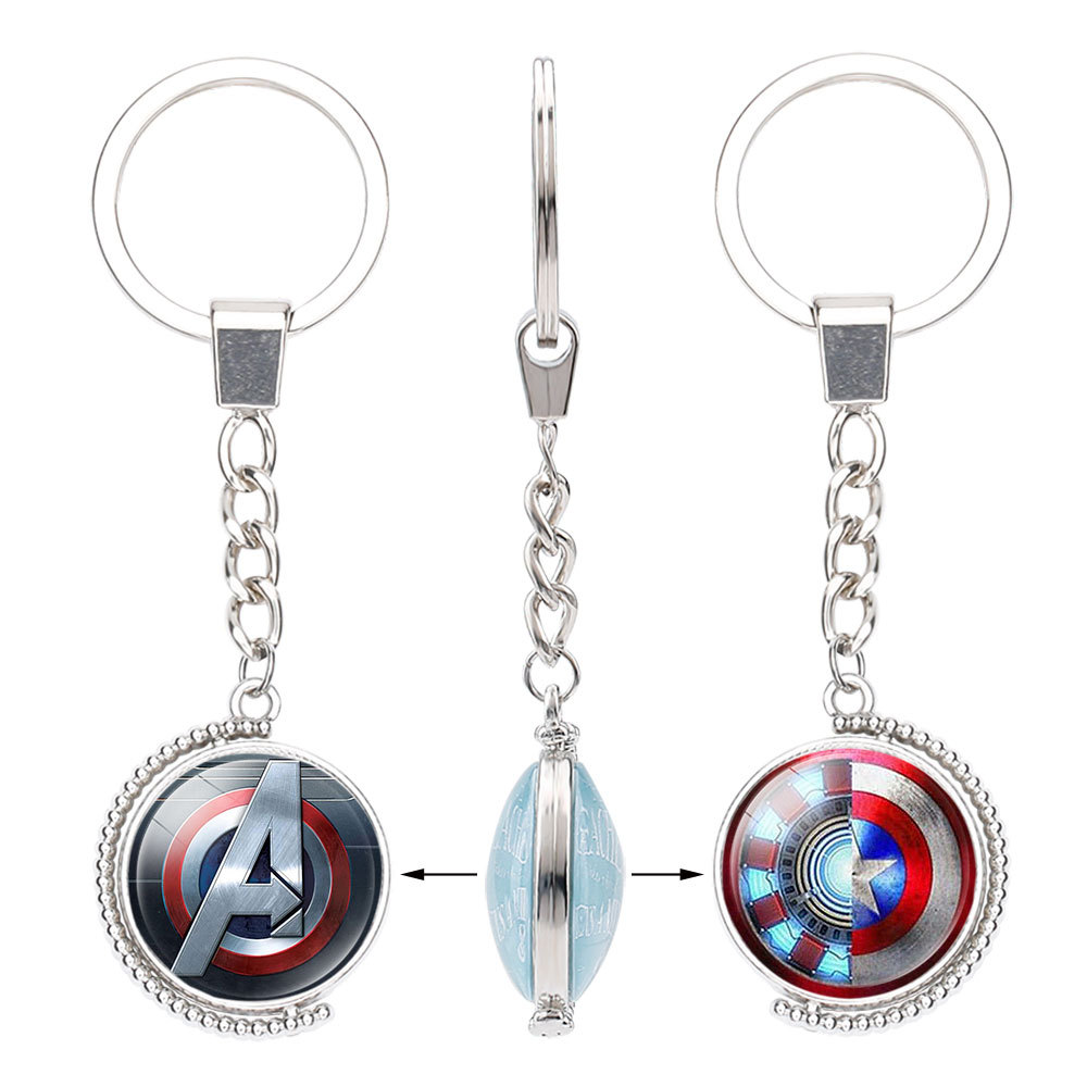 Marvel Legends Avengers Accessories Key Chain Captain America Time Gem Keychain  Two-Sided Superheroes Spin Keyring