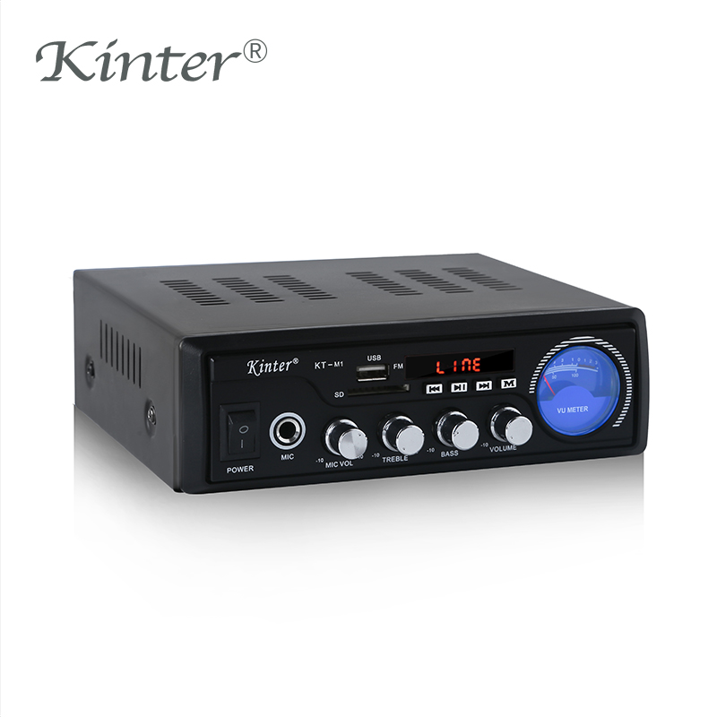 Kinter M1 MP3 Sound Amplifier Audio Hifi Stereo Amplifiers 2.0 Channel With SD USB Input Support Microphone Metal Enclosure