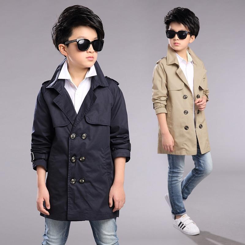 Детские весенне осенние пальто Модная Европейская стильная ветровка для мальчиков, детские двубортные тренчи, куртка для детей
