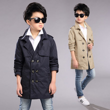 Children Spring Autumn Coats Boys Fashion European Style Windbreaker Jakcets Kids Double Breasted Trench Jacket