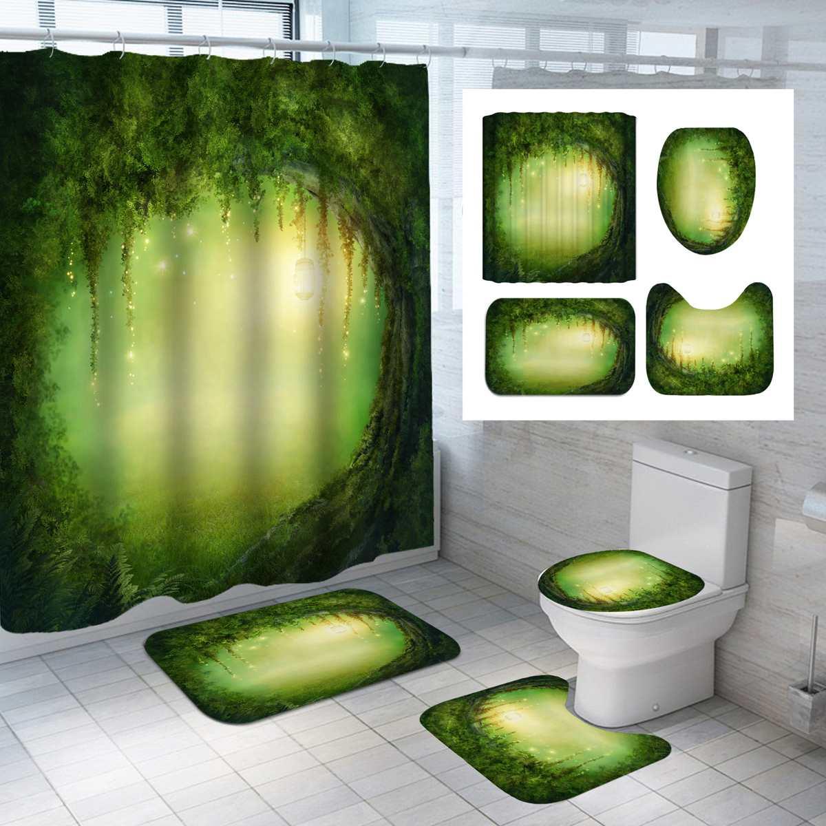Bathroom Shower Curtain Waterproof Pedestal Rug Lid Bath Carpet Toilet Cover Bath Mat Set 180x180cm