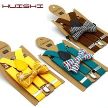 HUISHI Suspenders Kids Boy Girl Childrens Christmas Bow Tie Red Blue Suspenders Wedding Costume Adjustable Y-Back Black Braces