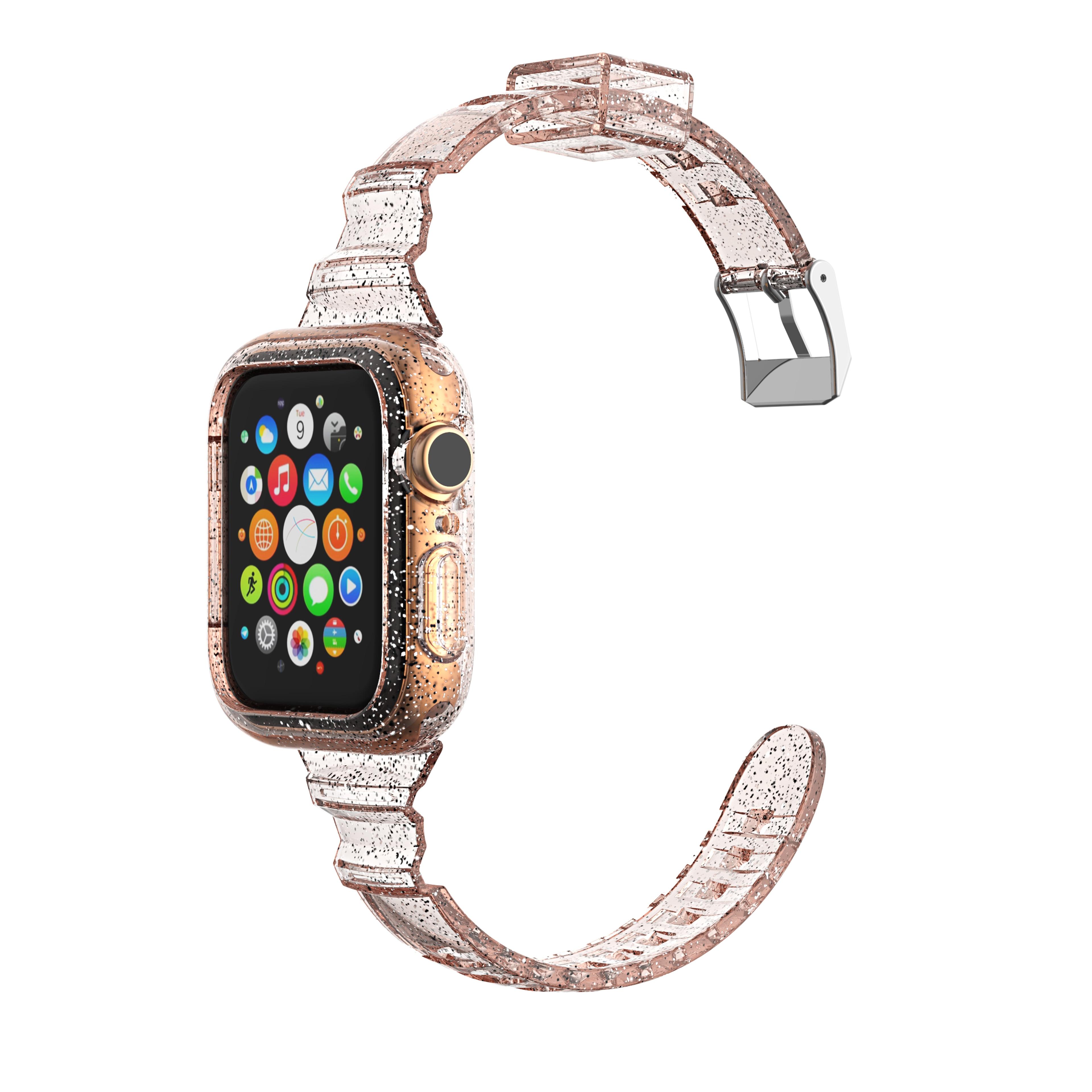 Купить блестящий прозрачный мягкий силиконовый ремешок для часов apple