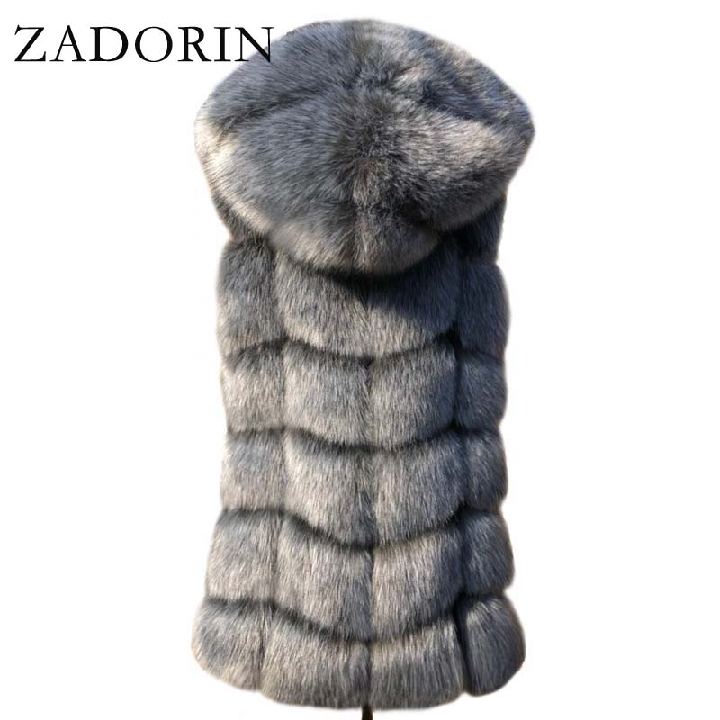 ZADORIN New Fashion Sleeveless Faux Fur Coat Hooded Winter Women Faux Fur Gilet Pelliccia Plus Size Faux fur Vest Jacket bontjas