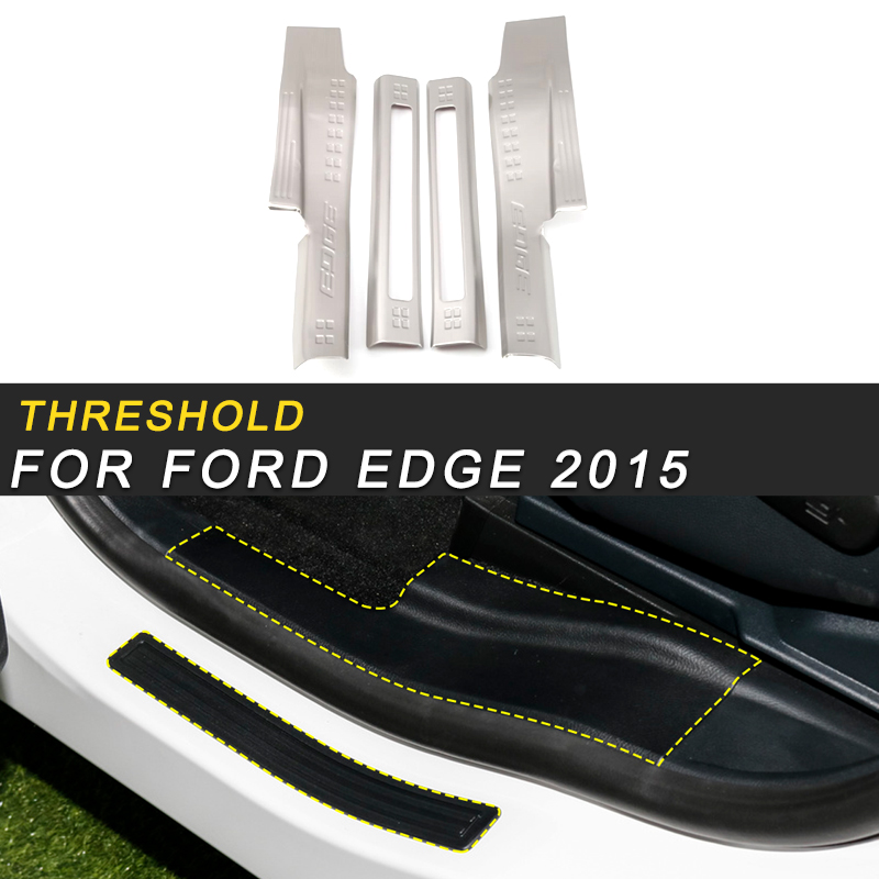 Pour Ford Edge 2015 voiture style porte seuil seuil seuil seuil plaque garde bienvenue pédale autocollants accessoires extérieurs