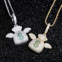 Popular European and American Brand Angel Wings Money bag Personality Hip hop Pendant Full of Zircon Necklace Couple Necklace