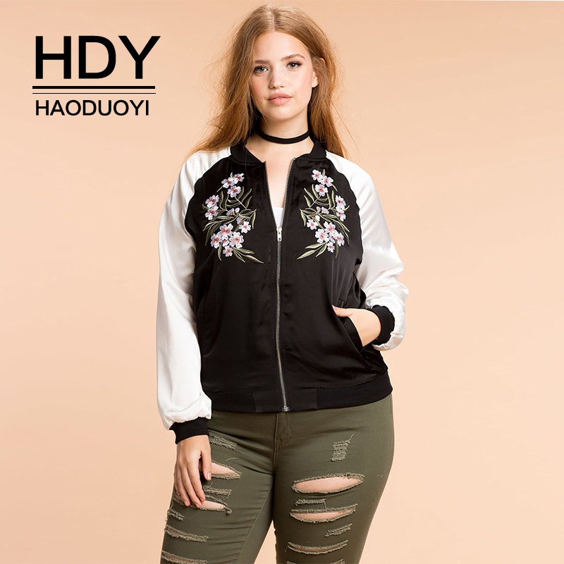 HDY Haoduoyi New Fashion Plus Size Women Clothing Casual Preppy Style Embroidery Print Outwear   Basic     Jacket   Zipper   Jacket   Coat