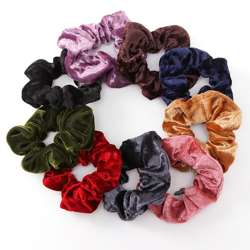 1PC Women Elegant Velvet Solid Elastic Hair Bands Ponytail Holder Scrunchies Tie Hair Rubber Band Headband Lady Hair Accessories