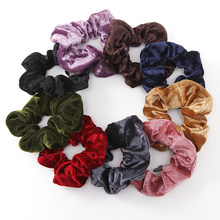 1PC Women Elegant Velvet Solid Elastic Hair Bands Ponytail Holder Scrunchies Tie Hair Rubber Band Headband Lady Hair Accessories(China)