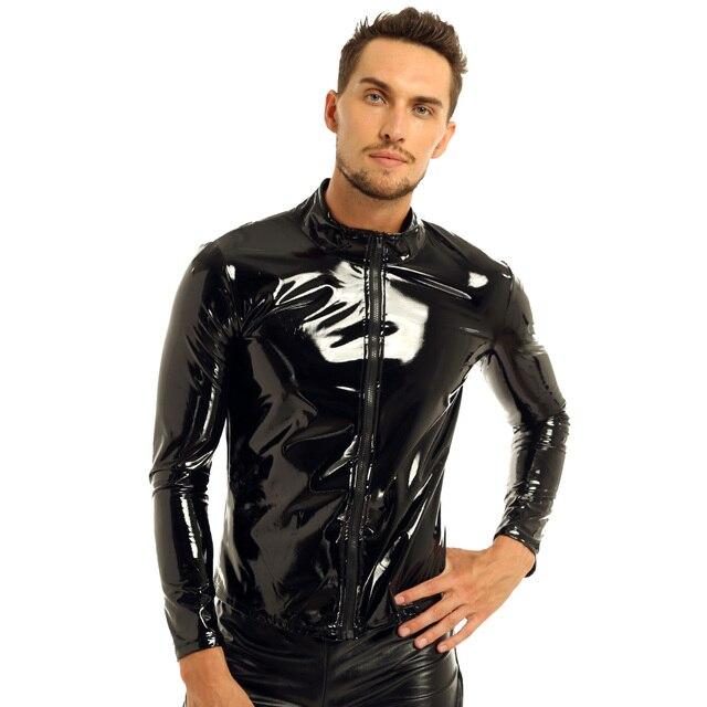 Męskie metalowe lateksowe T-shirt płaszcz ubranie do klubu typu Wet Look skóra PVC Zipper koszule klub kostium męski Streetwear jesienna kurtka topy