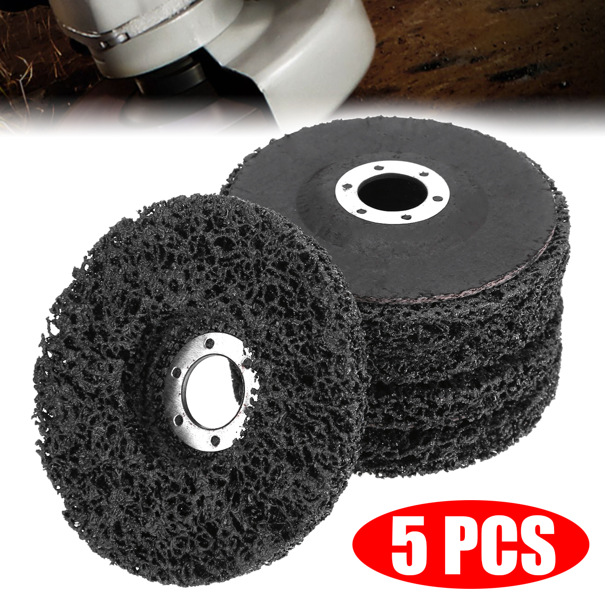 5Pcs 40Grit Poly Strip Grinder Wheel Disc Metal Surface Polishing Wheel Paint Rust Removal Clean Abrasive Wheel Tool 115*22mm