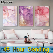 Pink Gold Foil Line Geometric Texture Luxury Painting Aesthetic Room Decor Canvas Wall Decorations Bed Room Abstract Decor