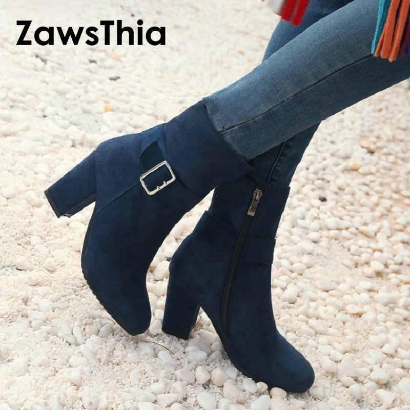 ZawsThia akın yuvarlak ayak kadın blok yüksek topuklu kırmızı lacivert bayan yarım çizmeler toka ile moda stilettos patik büyük boy 46 47