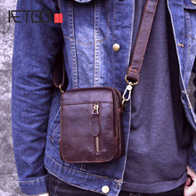 купить AETOO Men Messenger Bags men's Genuine Leather Bag Shoulder Bag Male Zipper Casual Small Flap Crossbody Bags for Men Leather дешево
