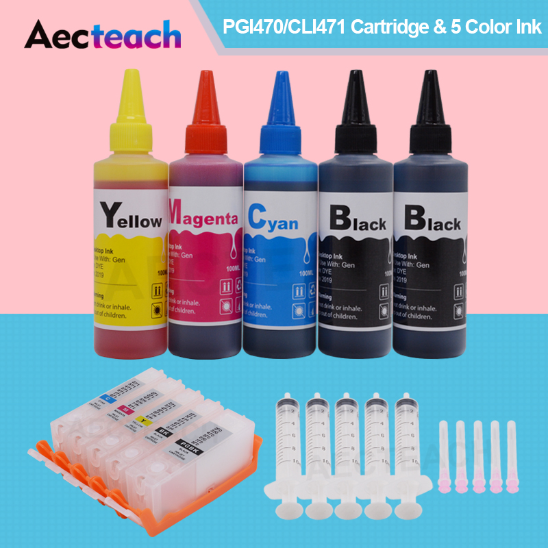 Aecteach Refill Ink Cartridge for PGI-570 CLI-571 XL + 4 Colors Bottle Ink for Canon Pixma <font><b>TS5050</b></font> TS5051 TS5053 TS5055 Printer image