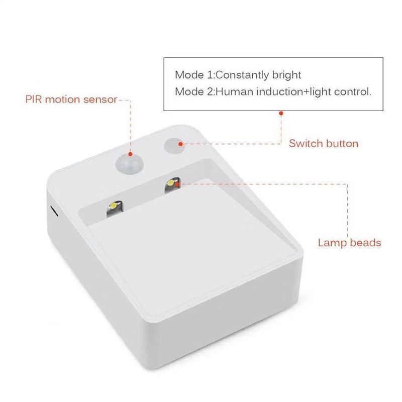 LED מקורה קיר מנורות PIR תנועת חיישן פמוטים אור מסד שקוע לילה מנורת AA סוללה כוח עבור מדרגות צעד מטבח שינה
