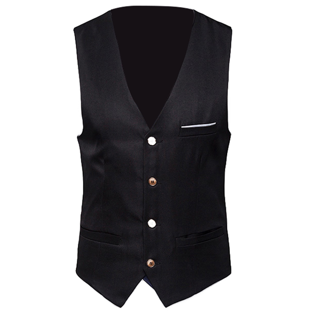 Plus Size Formal Mens Vests Solid Color Suit Vest Single Breasted With Waistcoat Business Casual Men's Vest