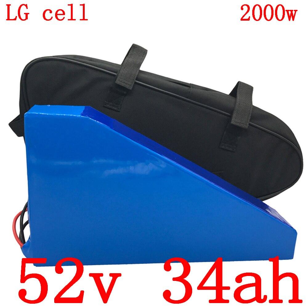 52V Triângulo bateria 52V 35AH panck 52V 34Ah usar celular LG bateria de lítio bicicleta elétrica da bateria para 48V 1000W 1500W 2000W do motor