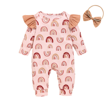 0-18M Baby Girls Romper Autumn Baby Girl Cotton Print Ruffled Long-Sleeved Jumpsuit+Headband Newborn Toddler Clothes Outfits D30 baby girl clothes summer ruffled sleeves blue white plaid baby romper newborn toddler kids jumpsuit sunsuit outfits