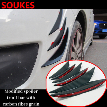 6PCS Rubber Car Front Bumper Lip Splitter Body Spoiler For Fiat 500 Abarth Mercedes W176 W204 W210 CLA E BMW E60 E36 E34 image