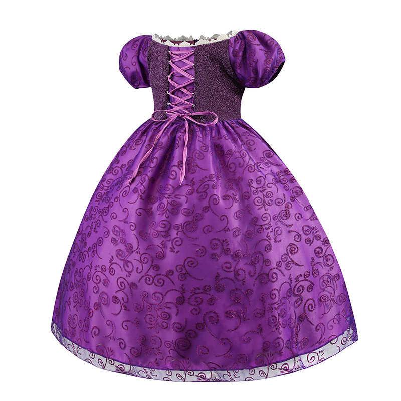 סבך רפונזל נסיכת תלבושות עם רפונזל פאת אביזרי סופיה נערות בגדי שמלת מסיבת יום הולדת לנשף ילדים שמלה