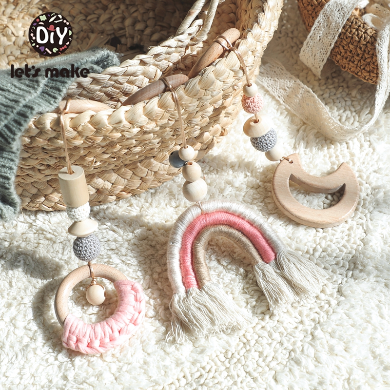 Let'S Make 3pc/Set Weaving Rainbow Hanging Baby Teether Play Gym Toys Crochet Wooden Ring Teething Beech Moon Toys For Kids