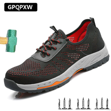 Fashion Fly Woven Labor Insurance Shoes Anti-smashing Anti puncture Steel Head Safety Mesh Breathable Deodorant Work Boots