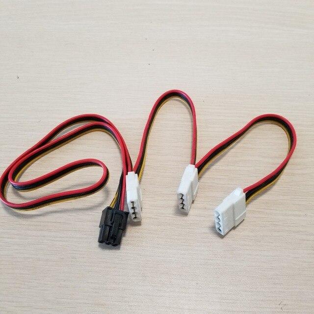 بطاقة جرافيكس 6Pin محول إلى 3 x 4Pin كابل الطاقة 18AWG للكمبيوتر DIY بها بنفسك 70 سنتيمتر