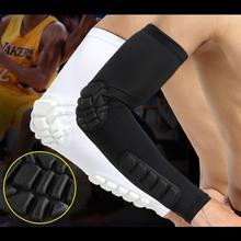Men manga favo de mel cotovelo almofadas crashproof futebol basquete tiro braço manga cotovelo apoio proteção nova balight