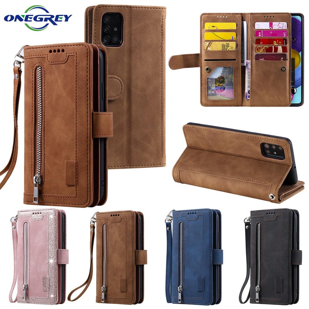 Zippper Wallet Case For Samsung Galaxy S20 FE S10 S9 S8 Plus Flip Leather A52 A72 A12 A32 A51 A71 A41 A50 A40 A30 A20E A10 Cover