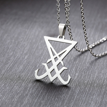Silver Sigil Of Lucifer Pendant Satanic Symbol Stainless Steel Men Necklace Seal