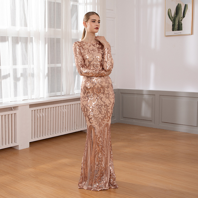 Elegant Full Sleeved O Neck Gold Sequined Party Dress Stretch Floor Length Bodycon Black Maxi Dress