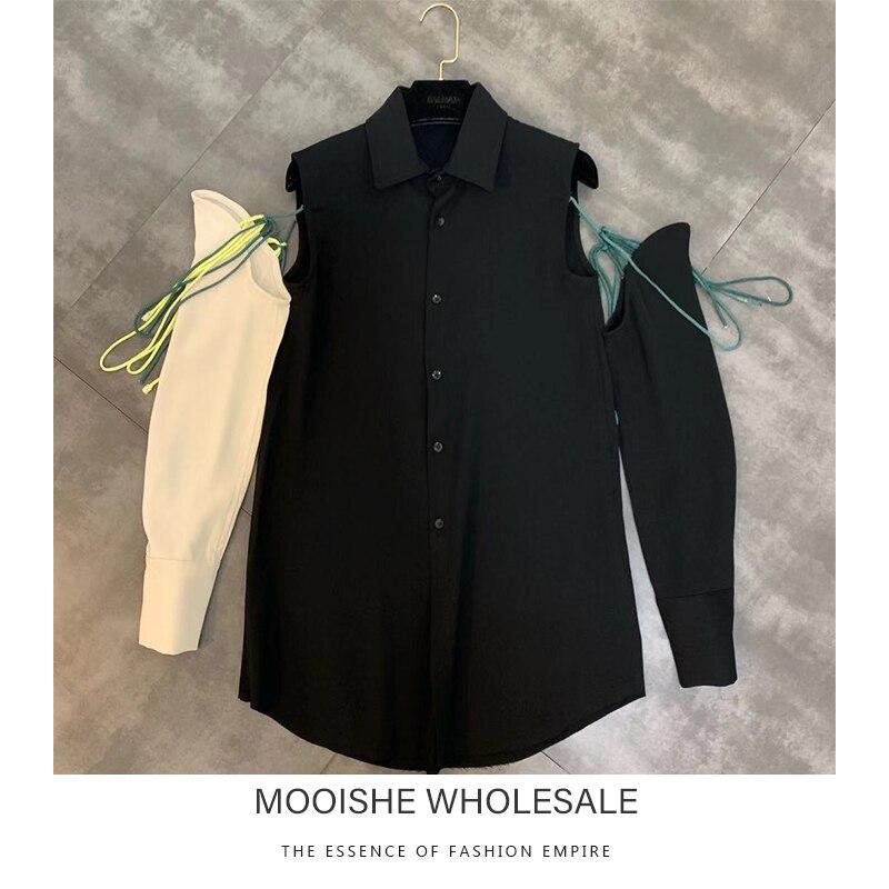 2019 automne nouveau chemisier femmes revers couture à lacets décoratif à manches longues détachable chemise