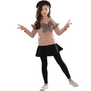 Image 1 - Комплект одежды для девочек, рубашка с бантом + леггинсы, осенний костюм из 2 предметов для девочек, зимняя детская одежда, повседневная одежда для девочек подростков 4, 6, 8, 12 лет