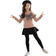 בנות בגדי סט קשת חולצה + צועד 2 Pcs חליפת סתיו עבור בנות החורף לילדים מקרית נערות בגדים 4 6 8 12 שנים