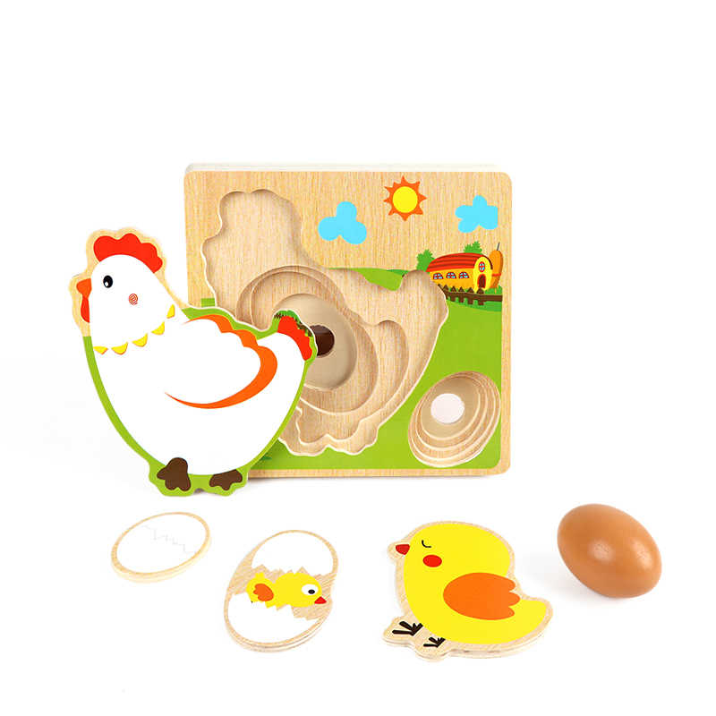 Wooden Puzzle Chick Hens 3D Jigsaw Multilayer Laying Eggs  Puzzle Kindergarten Preschool Early Learning Education Toys for kids