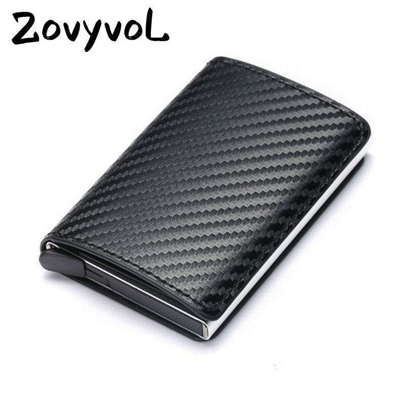 ZOVYVOL Aluminum Wallet Metal Credit Card Holder Automatic Elastic PU Leather Antitheft Rfid Blocking Wallet PassPort Holder Men