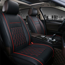 Universal PU Leather Car Seat Cover Cushions Front Black with Red Stitching cushion