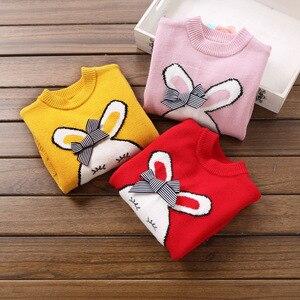 Image 4 - Вязаные свитера для девочек, пуловеры, топы, милая вязаная рубашка с мультяшным Кроликом, верхняя одежда для маленьких девочек, Детский свитер, пальто, детская трикотажная одежда