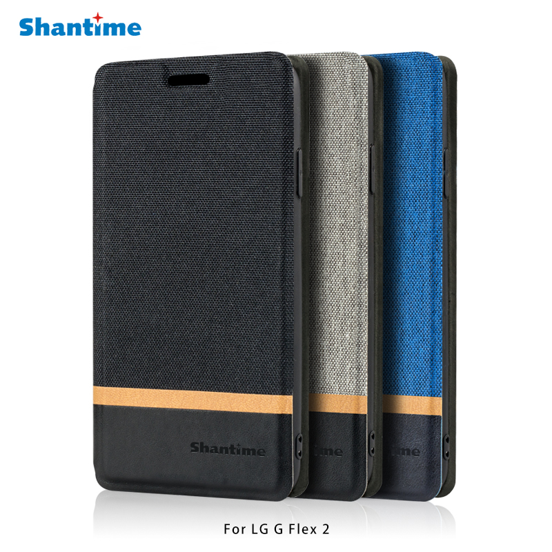 Canvas PU Leather Phone Bag Case For LG G Flex 2 Flip Case For LG G Flex 2 Business Case Soft Silicone Back Cover
