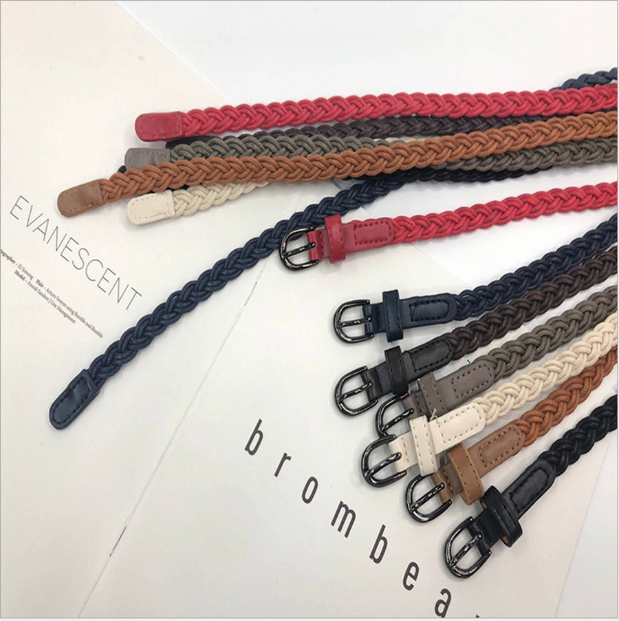 2020 New Korean Women's Woven Pin Buckle Retro Casual Thin Belt Decoration With Dress Jeans