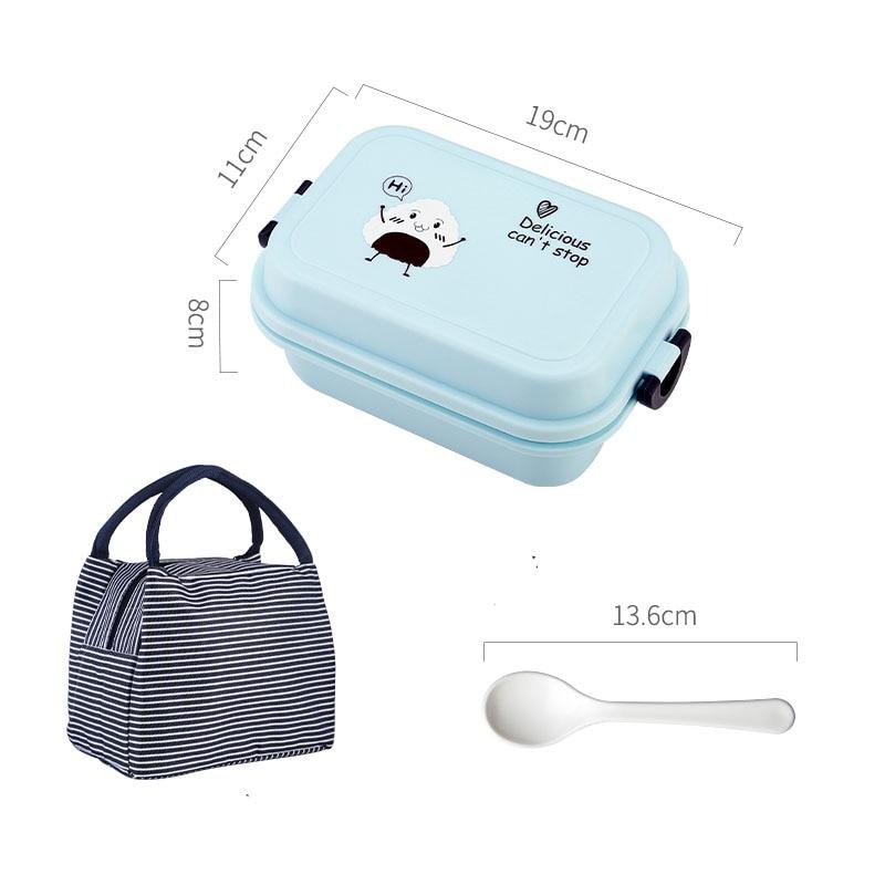 1000 мл прямоугольная коробка для ланча микроволновая печь японский Bento Box детский пищевой контейнер для хранения Портативный школьный пикник с ложкой для обеда - Цвет: Blue Thermos Bag