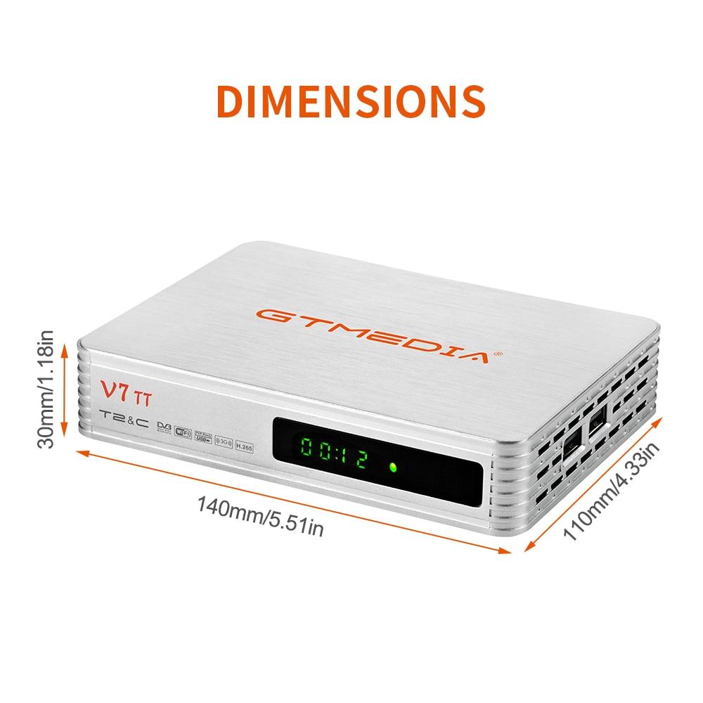 Ethernet Soporte Youtube CCcam EPG LCN GT Media V7 TT DVB-T//T2 Decodificador TDT DVB-C Receptor de TV por Terrestre Cable Combo H.265 10bit Full HD 1080p con Antena WiFi USB