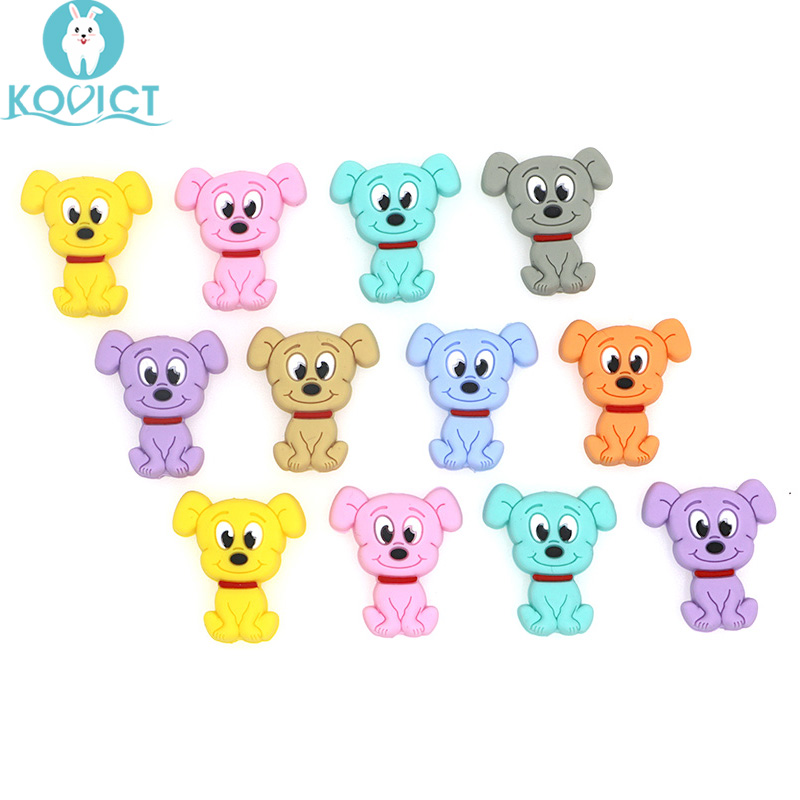 Kovict 10pcs Cartoon Dog Silicone Beads Baby Teether DIY Toy Necklace Pendant Rodent Pacifier Chain Children's Products